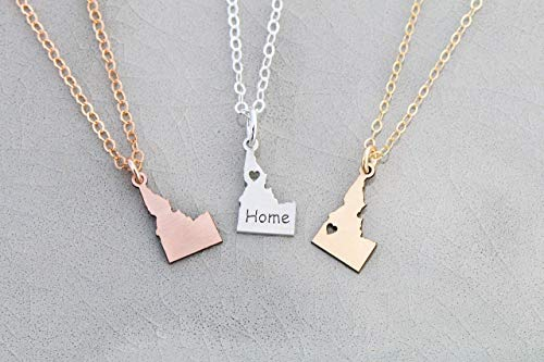 Idaho State Necklace - IBD - Personalize Name Coordinates - Pendant Size Options - 935 Sterling Silver 14K Rose Gold Filled Charm ()