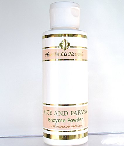 Rice and Papaya Enzyme Powder (water-activated) - All Natural Super Gentle Smoothing and Restoring Daily Cleanser - Pore purifying, anti-aging, collagen boosting ingredients; fights wrinkles, acne scars, uneven skin tone, sagging skin, dry skin - Madagascar Vanilla - 4 Oz