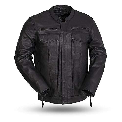 First Mfg Co RAIDER Men's Leather Banded Collar with Action Back Jacket (Black, 3X-Large) ()