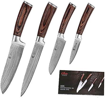 Cuchillo 1: cuchillo santoku con filo de 17 cm y longitud total de 29 cm.,Cuchillo 2: cuchillo jamon
