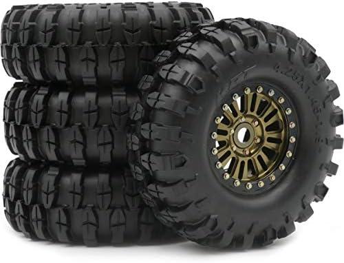 hobbysoul 4ピース 1.9インチ クローラー タイヤ 高さ (OD) : 108mm & 1.9 アルミ ビーズ ロッ