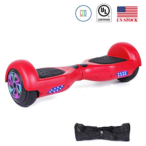 CBD Hoverboard Two-Wheel Self-Balancing Scooter Hover Board UL 2272 Certified Electric Scooter with 300W Dual Motor,LED Frontlights,Free Carry Bag,6.5 Flashing Wheel,Red