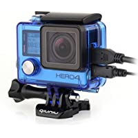 Qiuniu Side Open Protective Skeleton Housing Case with LCD Touch Backdoor for GoPro HERO 4, HERO 3, and HERO 3+ - Transparent Blue