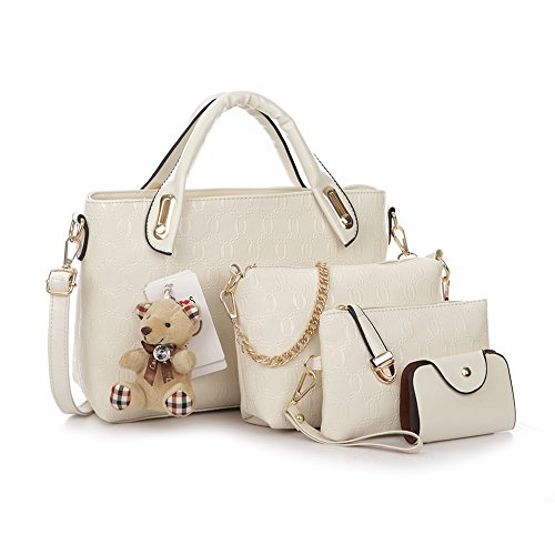 on handbags for women cute purses PU Leather Female Bag 4 piece Set (beige white) (4 Piece Leather Set)