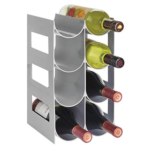 (mDesign Plastic Free-Standing Water Bottle and Wine Rack Storage Organizer for Kitchen Countertops, Pantry, Fridge - BPA Free - 4 Tiers, Holds 8 Bottles - Gray)