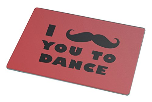 Rikki Knight I Mustache You To Dance Red Color Large Glass Cutting Board by Rikki Knight