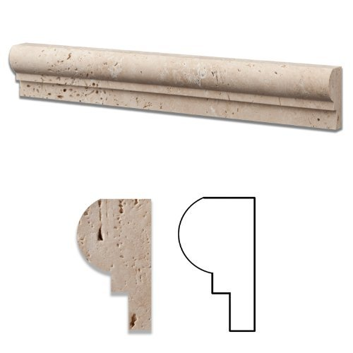 Ivory Travertine Honed 2 X 12 Chair Rail Ogee-1 Molding - Standard Quality - BOX of 15 PCS 1 Chair Rail Molding
