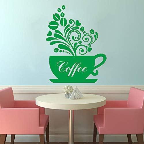 yiyiyaya Pegatinas de Pared Taza de café Decoración para el hogar Vinilo Cocina Ventana Arte Etiqueta de la Pared Calcomanías de Pared extraíbles a Prueba de Agua Negro 58cm X 75cm: Amazon.es: