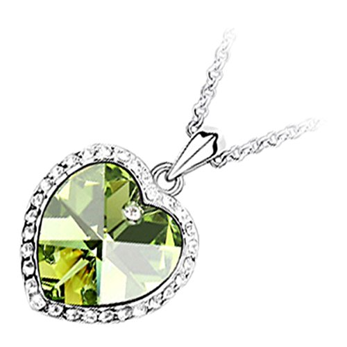 GWG 18K White Gold Plated Peridot Green Color Heart Stone Adorned with Diamond Clear Crystals Pendant Necklace for Women