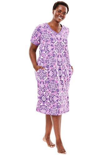 Dreams & Co. Women's Plus Size Short V-Neck Lounger Pretty Orchid Floral,6X
