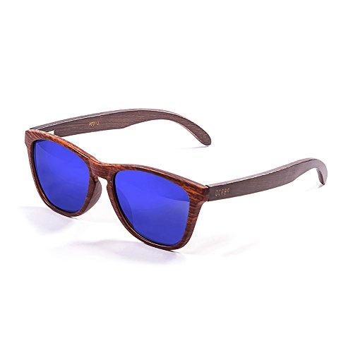 Ocean Sunglasses Sea Lunettes de Soleil Mixte Adulte, Brown Dark Frame/Wood Dark Arms/Revo Blue Lens