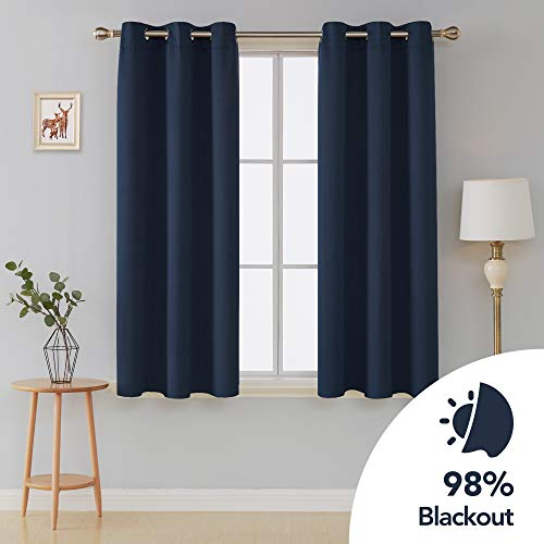 Deconovo Grommet Curtain Room Darkening Curtains Thermal Insulated Drapes 42 Inch by 54 Inch Navy Blue 2 Curtain Panels (Panels Blue Grommet Curtain)