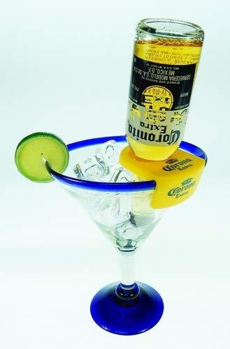 (Mexican Glass Margarita Blue Rim 20 Oz with Coronarita Clips Corona Beer Holders (set of 4))