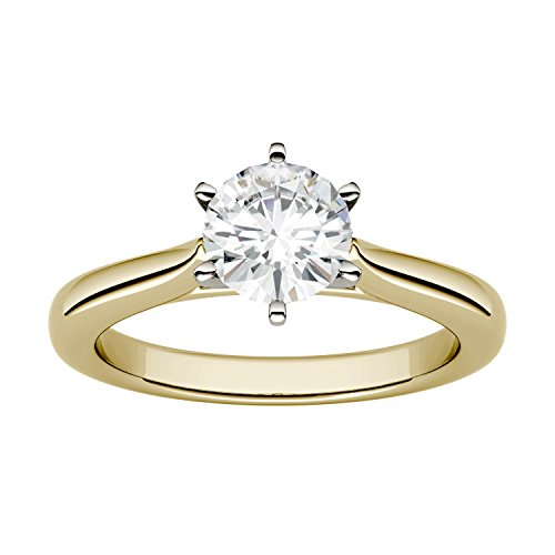 (Yellow Gold 6.5mm Moissanite by Charles & Colvard 6-Prong Solitaire Engagement Ring-size 7, 1ct DEW)
