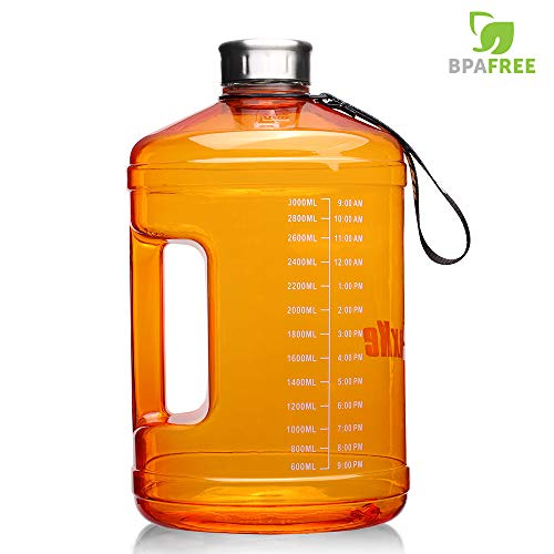SLUXKE 128 OZ/74OZ Big Water Bottle Motivational Fitness Workout with Daily Time Marker| Reusable Leak-Proof | Clear BPA-Free Large for Indoor Outdoor Camping Hiking Gym Running