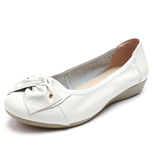Odema Women's Leather Slip ONS Loafers Flats Moccasins Driving Shoes Casual Walking Shoes Size 6-10 White