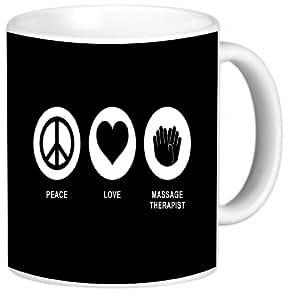 Rikki Knight Peace Love Massage Therapist Black Color Photo Quality Ceramic Coffee Mug, 11-Ounce