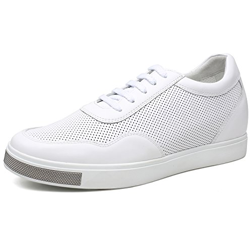 Leather Mesh Sneakers - CHAMARIPA Elevator Shoes Men's Breathable Mesh Leather Sneakers White 2.36'' Taller H71C26K173D US10 D(M)