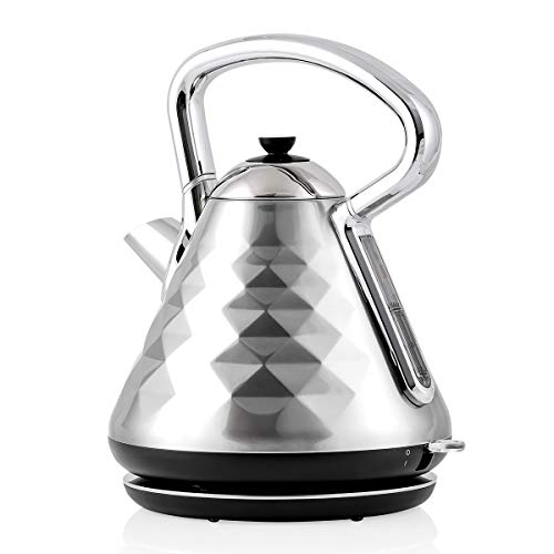 Ovente Electric Hot Water Kettle 1.7 Liter Cleo Collection Fast Heating Element with Cool Touch Handle, 1500 Watt Tea Maker with Boil Dry Protection & Auto Shut-Off, Perfect for Coffee, Silver KS755BR