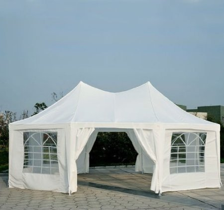 Outsunny 22 x 16 Large Octagon 8-Wall Party Canopy Gazebo Tent - White