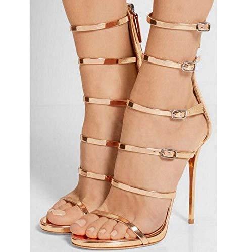 Zapatos Mujeres Peep Tobillo Sandalias Romanas Gruesos Ghfjdo Fiesta Verano Pink Vestido Bombas Toe Nuevo Oro Strappy Tacones Txw4wq8C