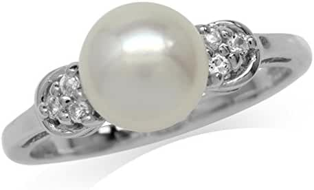 8MM Cultured Freshwater Pearl White Gold Plated 925 Sterling Silver Ring