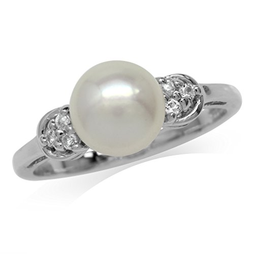 8mm Freshwater Pearl Ring (8MM Cultured Freshwater Pearl & Cubic Zirconia White Gold Plated 925 Sterling Silver Ring Size 8)
