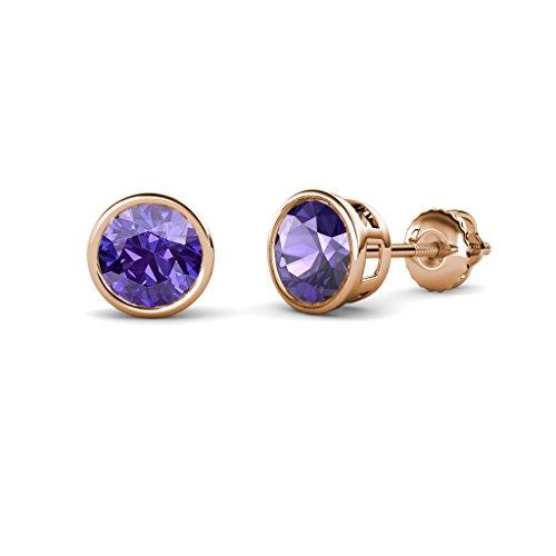 Iolite Bezel Set Solitaire Stud Earrings 1.74 cttw in 14K Rose Gold