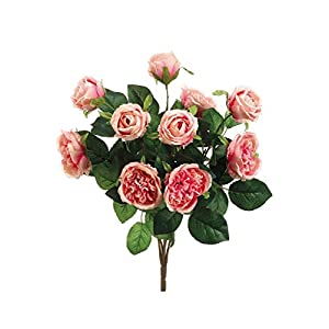 """Floral Home Artificial Cabbage Rose Bush in Pink with Blush Undertones - 16"""" Tall 101"""