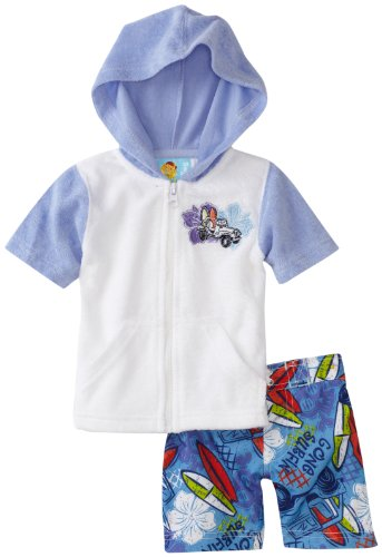 Baby Bunz Boys' Beach Buggy Terry Cover Up With Swimtrunk