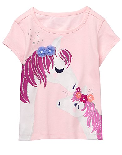 Gymboree Baby Girls Short Sleeve Glitter Animal Graphic Tee, Petal Pink, 3T