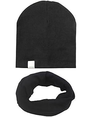 2Pcs Baby Boys Girls Cotton Hat Stripe Soft Caps + Scarf
