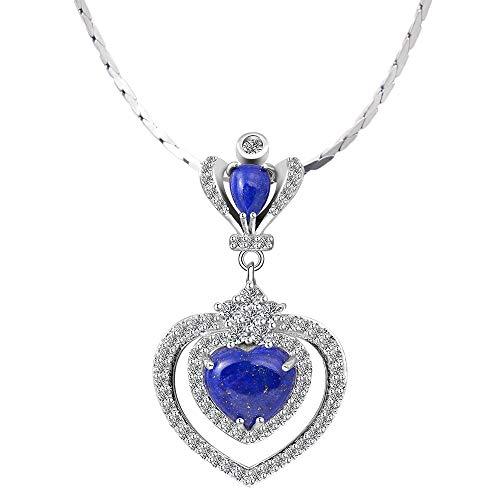 iSTONE 925 Sterling Silver Natural Lapis Lazuli Pendant Necklace Heart Shape 18