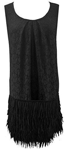 Size 16 Black Lace 20's Flapper Girl Flare Retro Skater Cocktail Party Dress