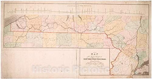 (Historic Map | 1834 Map of the route of the proposed New York & Erie Railroad, as surveyed in 1834 | Vintage Wall Décor | 48in x 24in)