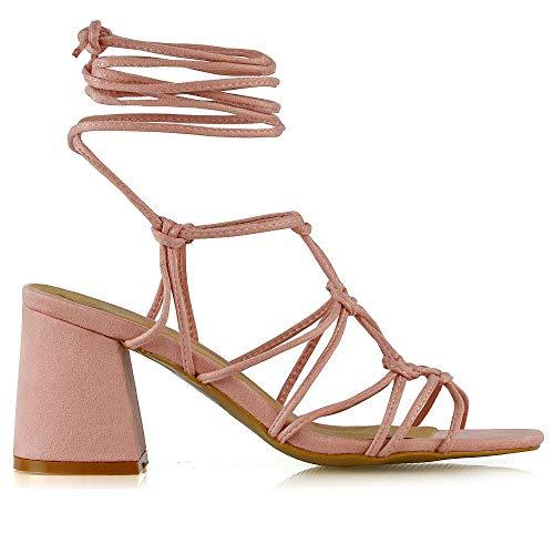 Alto Lace Scamosciato Tacco Finto up Pastello Gladiatore Sandalo Strappy Glam Rosa Donna Essex xAqT0Uq