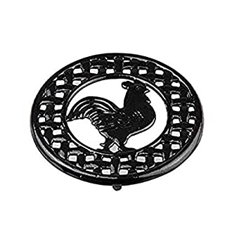 "Home Basics Cast Iron Rooster (Black) Trivet, 8"" x 8"" x .62"""
