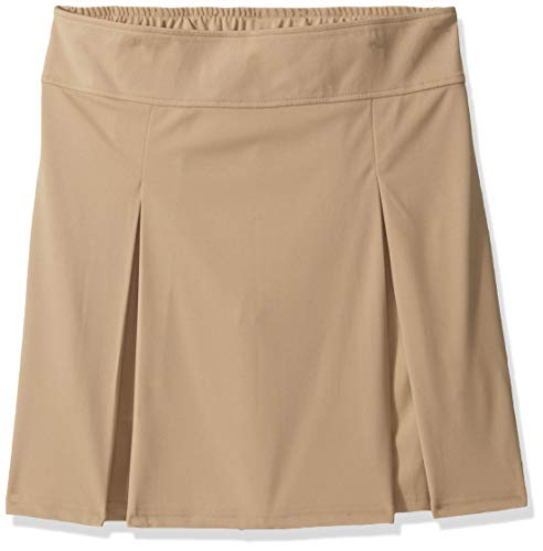 French Toast Girls' Big Pull-on Kick Pleat Scooter, Khaki, L (10/12) (Dennis School Uniforms)