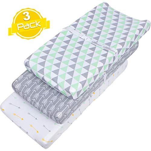 - Changing Pad Cover Set | Cradle Bassinet Sheets/Change Table Covers for Boys & Girls | Super Soft 100% Jersey Knit Cotton | Grey and White | 150 GSM | 3 Pack