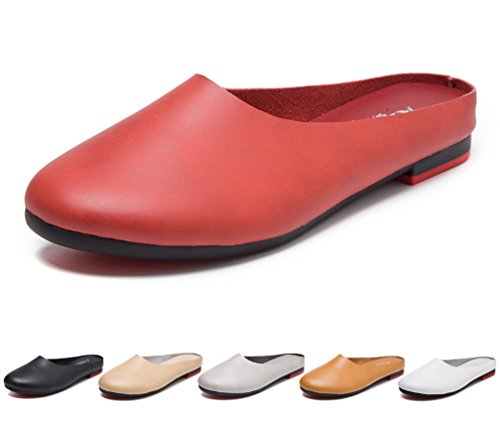 Hishoes Women's Leather Casual Loafer Ladies Slip-on Clogs Mules Slippers Flats Driving Shoes Moccasin Girls' Sandals - Clogs Rhinestone Ladies Comfort