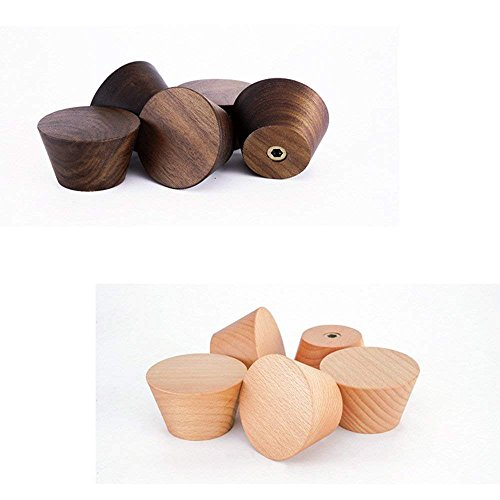 2Pcs Natural Wooden Coat Hooks, Wall Mounted Single Cone Wall Hook Rack, Decorative Craft Clothes Hooks (Beech Wood) by Sichou-Room (Image #3)