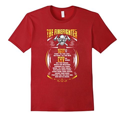 [Men's The Firefighter Within Never Give Up First Responder 2XL Cranberry] (First Responders Costumes)