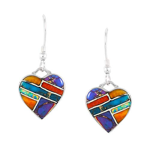 - Sterling Silver Earrings with Genuine Turquoise & Gemstones (Heart Dangles)