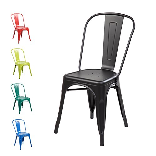 Anji Modern Furniture Modern Black Metal Stackable Dining Chic Bistro Cafe Side Chair with Backs (Set of 2) Vintage Tolix Kitchen Chair