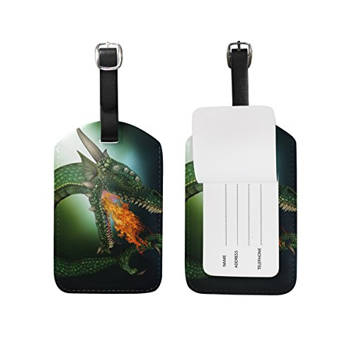 Green Dragon Leather Luggage Baggage Suitcase Tag ID Label for Travel(2Pcs) (Leather Dragon Green)