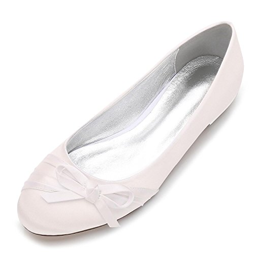 Tie des Bridal Chaussures L de Taille F5049 Toe Grande Closed Party Ivoire YC 15 Mariage Femmes Round Bow Toe xq7xFI