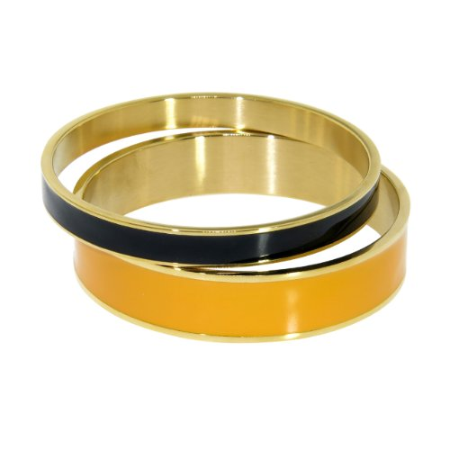 Enamel Wide Bangle - NYC Sterling Women Gold Tone Stainless Steel Enamel Bangle Set (Orange & Black)