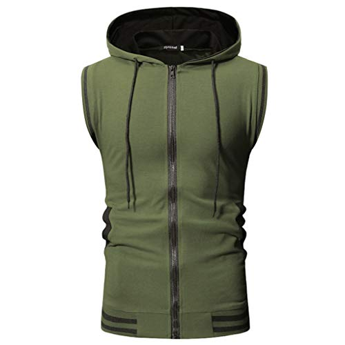 Allywit-Mens Slim Fit Lightweight Active Sleeveless Zip-up Hooded Vest Gym Tank Top Coat Army -