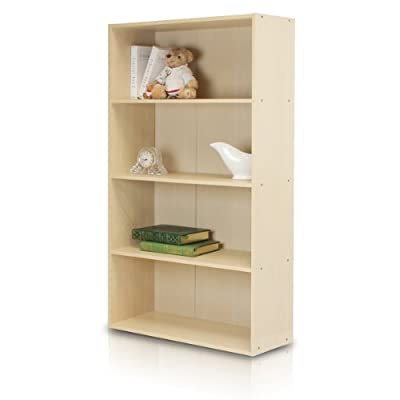 Furinno 11209SBE Pasir 4 Tier Open Shelf, Steam Beech - Simple stylish design yet functional and suitable for any room Material: Manufactured from Engineered particle board. Fits in your space, fits on your budget. - living-room-furniture, living-room, bookcases-bookshelves - 41rZZxqBQSL. SS400  -