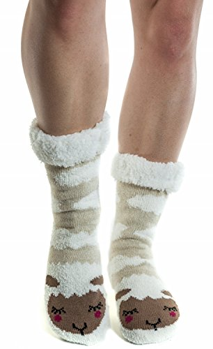 Women's Faux Fur Fuzzy Winter Animal Socks with Grippers -17 SHEEP